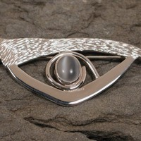 White moonstone eye brooch in sterling silver jewelry by SARANTOS