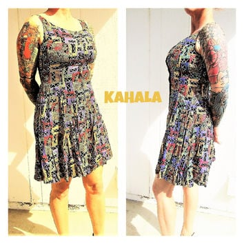 Kahala Tropical Dress Size Medium Hawaiian Hula Girl Designer AVI Island Print Ladies Casual Wear Vintage Fashion