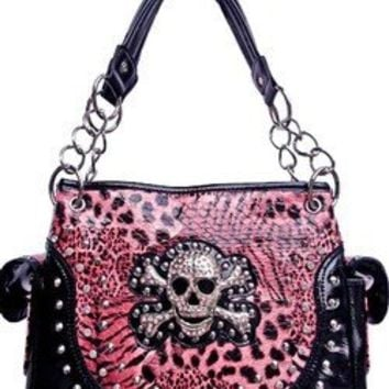Skull & Cross Bones Zebra Leopard Print Chain Handle Satchel Purse Pink (pink)