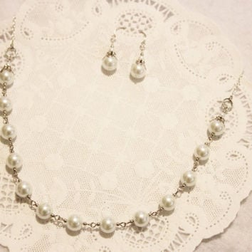 White Glass Pearl Wedding Necklace and Earrings Set - Glass Pearls and Silver Bead caps on Silver Toned Chain