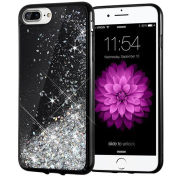 iPhone 7 Plus Case, Caka [Starry Night Series] Bling Flowing Floating Luxury Liquid Sparkle TPU Bumper Glitter Case for iPhone 6 Plus/6S Plus/7 Plus/8 Plus (5.5 inch) - (Silver)