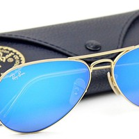 Cheap Ray-Ban RB3025 Unisex Aviator Sunglasses Mirrored Matte Gold Frame/Blue Mirror outlet