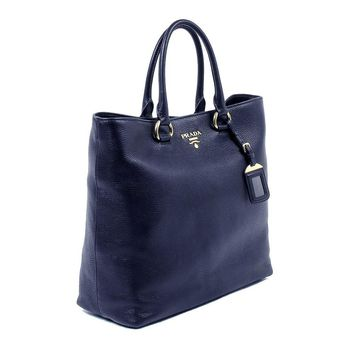 Prada Women's Navy Blue Vitello Phenix Leather Shopping Tote 1BG865