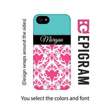 Hot pink damask personalized iPhone 6 case, iPhone 6 Plus case, iPhone 5s case, iPhone 5c case, iPhone tough case, 3D wrap iPhone case