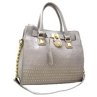 Classy! Chain Shoulder Strap Studded Handbag Purse (Gray)