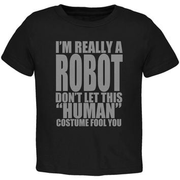 Halloween Human Robot Costume Black Toddler T-Shirt
