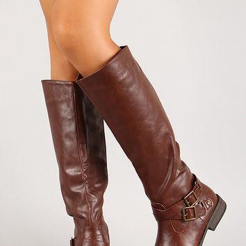 Criss Cross Double Buckle Riding Knee High Boot