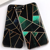 Fashion Gridding Phone Case For iPhone 7 7 Plus 6 6s Plus 5s 5 SE Soft TPU Rhombus Geometry Cover For iPhone 7 Case Fundas Coque-0402