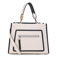 Fendi Shopping Bag Runaway Calf Leather Camelia Cream Black Trim Tote 8BH343