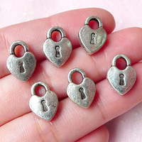 Heart Key Lock Charms / Beads (6pcs) (10mm x 14mm / Tibetan Silver / 2 Sided) Pendant Bracelet Earrings Zipper Pulls Keychains CHM781