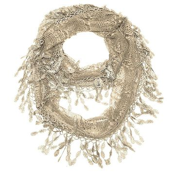 Golden Taupe Lace Infinity Scarf with Eyelet Trim
