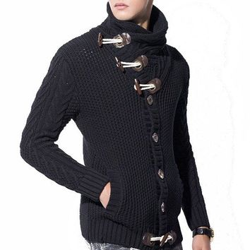 Mens Horns Buckle Button Design Hedging Turtleneck Thick Casual Sweater Cardigans