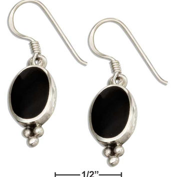 STERLING SILVER OVAL SIMULATED BLACK ONYX EARRINGS