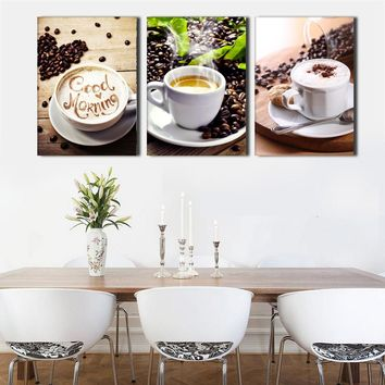 3Pcs Coffee Canvas Painting Poster Wall Pictures For Living Room Print On Canvas Wall Decor Painting(No Frame) HD Print Painting