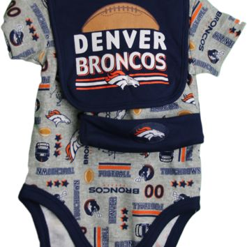 DENVER BRONCOS Three Piece NFL Baby Suits with Beanie and Bib