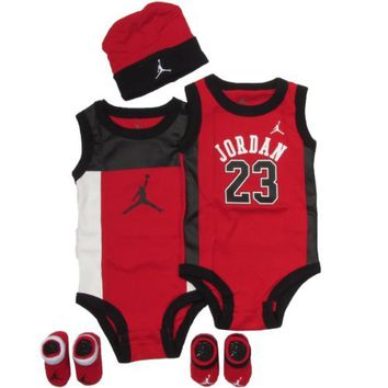 Jordan Baby set by Nike Perimeter for Boys and Girls Red, 0-6 Months