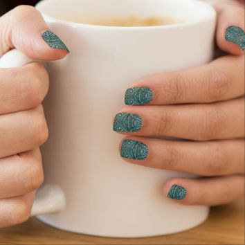 girly chic teal turquoise tooled leather pattern Minx Nails nail art