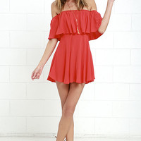 Young and in Love Coral Red Off-the-Shoulder Dress