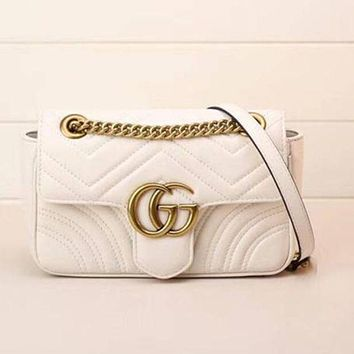 Gucci Women Trending Fashion Leather Satchel Shoulder Bag Crossbody White G