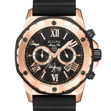 Bulova Mens Black Rubber & Rose Gold Marine Star Chronograph - Date