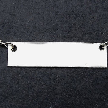 Silver Rectangle Necklace, Silver Bar Necklace, Name Plate Necklace, Minimalist Sterling Silver Necklace