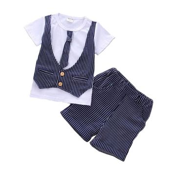 Summer Newborn Baby Boy Clothes Set 1 Year Birthday Christening Clothing Infant Baby Boys Formal Wedding Suits Sets T-shirt+Pant
