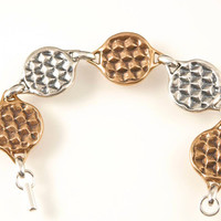 Silver and Bronze Yoga Link Bracelet Honeycomb Pattern Be Mindful Bee Jewelry Honey Bee Bracelet