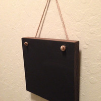 Mini blackboard, hanging wood chalkboard available in white, teal blue, gray or dark walnut stain