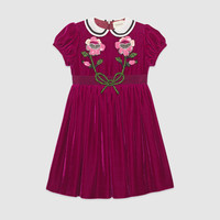 Gucci Children's velvet dress with sequin embroidery
