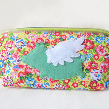 When Pig Flies Cute Flying Pig Green Pink Florals Pencil Case Zip Pouch. Exclusive Handmade Pouch. Children Gift