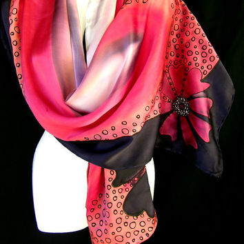 Hand Painted Silk Scarf Black Red Satin Chic Floral Design