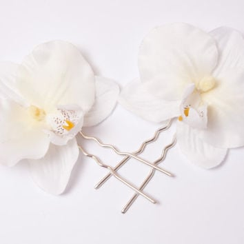 Orchid Hair Clips, Orchid Bobby Pins, Ivory Orchid Hair Clip, Orchid Accessory, Bridesmaids Accessories set of 2