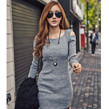 Autumn Women Dress Sexy Mini Long Sleeve Slim Fit Off Shoulder Sweater Knitwear Bodycon Mini Dress