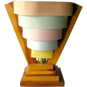 Art Deco Desk Lamp Five Tiered Pastel Colored Metal Shade and Wood Base / Vintage Home Decor
