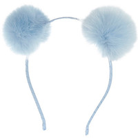 River Island Girls blue pom pom ear headband