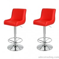 Adeco Height Adjustable Classic Counter Bar Stools, Set of 2, Red - CH0142-3