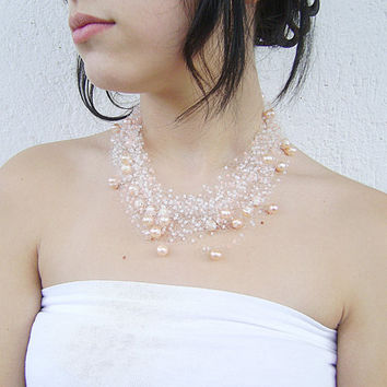 White - Peach Wedding Bridal Airy crochet Necklace with seed beads, glass pearl and Freshwater Pearls