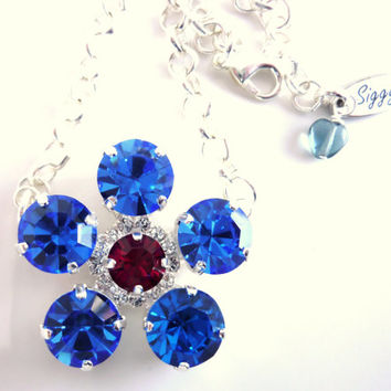 Swarovski crystal PATRIOTIC daisy pendant necklace, 11mm red white and blue, July 4th, better than sabika