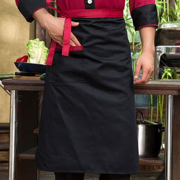 Chef Aprons Kitchen Restaurant Cooking Waist Aprons With Pocket Work Apron Waiter Kitchen Cook Tool U0775