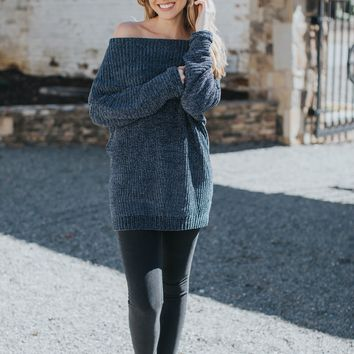 Chenille Off The Shoulder Sweater, Dark Grey