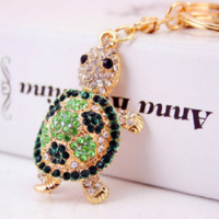 cute green crystal turtle keychain