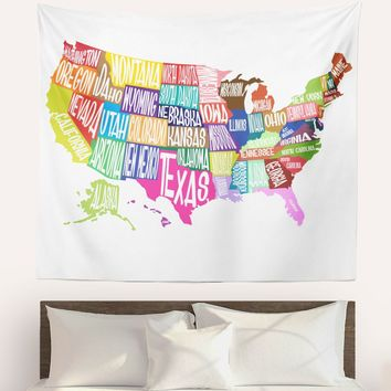 Colorful States Map Wall Tapestry