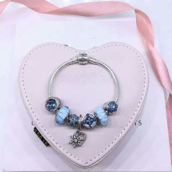 Flower Type Blue Beads Pandora 925 Sterling Silver Inspirational Bracelet