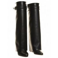 Givenchy Black Shark Lock Leather Boot