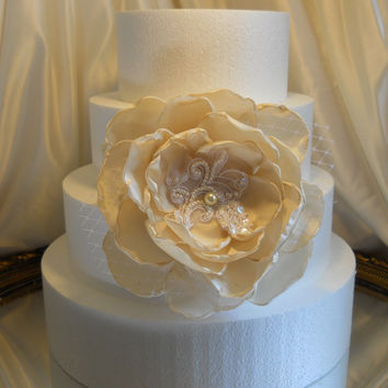 "Large Champagne Silk and Lace Cake Topper Peony Flower, measures 7"". Makes a beautiful cake topper, or use in bouquets, add to a wreath,"