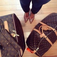 LV Luggage Bag Travel Bag Fashion Big Bag Leather large capacity Tote Handbag B-LLBPFSH Coffee Print