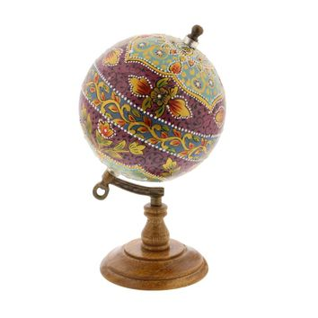 Floral Finish Pu Wood Marble Globe - 94464 by Benzara