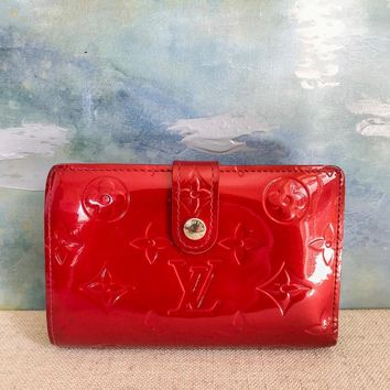 LOUIS VUITTON Red Vernis Monogram Patent Leather French Wallet Kisslock on SALE!