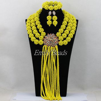 Yellow African Big Party Beads Jewelry Sets Long Nigerian Traditional Wedding Indian Bridal Necklace Set Free Shipping AIJ531