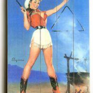 Wood Sign : Cowgirl Barbeque Pin Up Girl